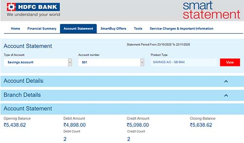 HDFC Check Account Type